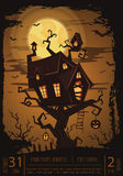 Halloween party banner with spooky castle Royalty Free Stock Photos