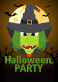 Halloween Party banner with Witch Royalty Free Stock Photos