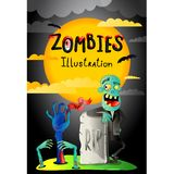 Halloween party banner with zombie in cemetery. Funny undead banner, horror monster near rip gravestone, zombie apocalypse concept, cute walking dead vector vector illustration
