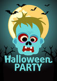 Halloween Party banner with Zombie Royalty Free Stock Photos