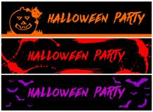 3 Halloween Party banners Stock Photography