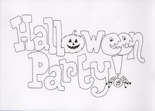 Halloween party. Black and white line drawing - hand drawn in ink Stock Photos