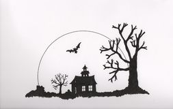 Halloween party. Black and white line drawing - hand drawn in ink Stock Images