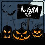 Halloween party blue poster. For decoration of congratulatory products for Halloween Royalty Free Stock Photography