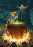 Halloween party with a bonfire, a skeleton, a Ghost and a bat Stock Photos