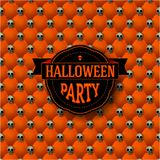 Halloween party button-tufted background with. Vintage frame. Orange upholstery backdrop. Vector illustration. Retro label design. Brochure. Poster. Trick or Royalty Free Stock Images