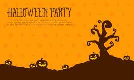 Halloween party card pumpkin landscape. Vector illustration Royalty Free Stock Photos