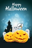 Halloween Party Card with Pumpkins Stock Photography