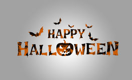 Halloween Party Card with Pumpkins and Bats royalty free stock images