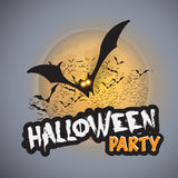 Halloween Party Card Template - Flying Bats with Glowing Eyes Stock Images
