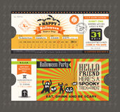 Halloween party card in Train Ticket pass style stock illustration