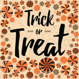 Halloween party card. Trick or treat banner design with bright lollipops. Halloween trick or treat banner cute design decorated with bright candy, lollipop stock illustration