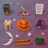 Halloween party cartoon icons set. Potion cauldron, witch hat, coffin, rip gravestone, witch broom, executioner ax, halloween pumpkin head jack lantern, moon royalty free illustration