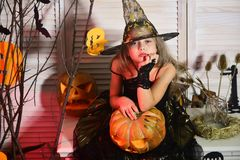 Halloween party and celebration concept. Little witch with Halloween decor. Kid in witch hat and costume holds jack o lantern. Girl with bored face on spooky royalty free stock photos