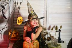 Halloween party and celebration concept. Little witch with Halloween decor. Girl with smiling face on spooky carnival room background. Kid in witch hat and stock images