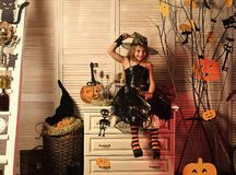 Halloween party and celebration. Girl with happy and flirty face. Halloween party and celebration concept. Girl with happy and flirty face on spooky carnival stock photos