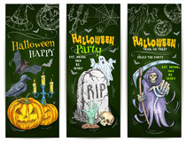 Halloween Party chalk sketch design on blackboard Stock Images