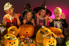 Halloween party with children Stock Photo