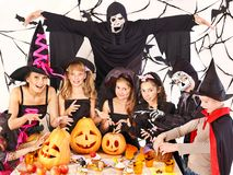 Halloween party with children. Halloween party with children holding carving pumkin Royalty Free Stock Images