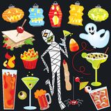 Halloween party clip art. Dancing, drunk mummy with finger sandwiches and creepy cocktails. Isolated on black Royalty Free Stock Images
