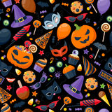 Halloween party colorful seamless pattern vector Royalty Free Stock Photography
