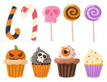 Halloween party colorful sweets cupcakes lollipops jelly beans cookies cake candies vector illustration. Halloween party homemade colorful sweets icons set stock illustration