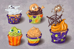 Halloween party colorful sweets icons set vector illustration. Stock Images