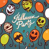 Halloween party concept background, hand drawn style vector illustration