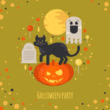 Halloween party concept in flat style. Vector composition with pumpkin head, cat, moon, ghost, candies and tombstone Stock Photos