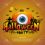 Halloween party concept. Text Halloween party whith pumpkin illustration on orange Background Royalty Free Stock Photography