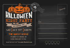 Halloween Party and Costume Contest Postcard Invitation Stock Photos
