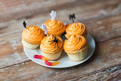 Halloween party cupcakes or muffins on table Stock Photo