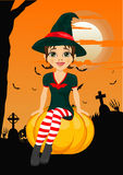 Halloween party with cute witch sitting on pumpkin agains greeting card with pumpkins, bats and tombstone Royalty Free Stock Image