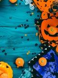 Halloween party decorations frame on dark green Stock Photos