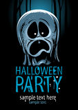 Halloween party design with ghost. Halloween party design with screaming ghost Stock Photo