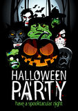 Halloween party design with  pumpkin, zombie, werewolf, death, witch, vampire. Stock Image