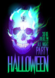 Halloween party design with skull in flames. Royalty Free Stock Image