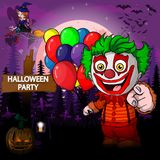 Halloween Party Design template with clown. File in layers and editable Stock Image