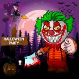 Halloween Party Design template with clown. File in layers and editable Royalty Free Stock Image