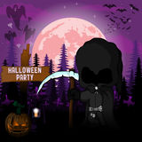 Halloween Party Design template, with dark reaper, pumpkin and lamp.  vector illustration