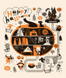 Halloween Party Design template, with the Dracula house within a pumpkin. Vector Stock Photography