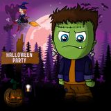Halloween Party Design template with Frankenstein. File in layers and editable vector illustration