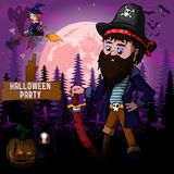 Halloween Party Design template with pirate.  vector illustration