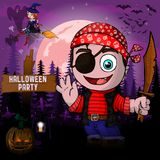 Halloween Party Design template with pirate. File in layers and editable stock illustration