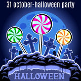 Halloween Party design template for poster. Candy on the cemeter Royalty Free Stock Photos