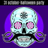 Halloween Party design template for poster, flyer. Funny skull. Royalty Free Stock Image