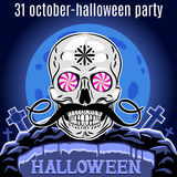 Halloween Party design template for poster. Funny skull. Vector. Stock Photos