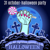 Halloween Party design template for poster. Hand with candy. Vec Royalty Free Stock Photos