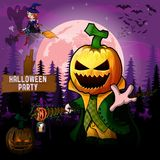 Halloween Party Design template with Pumpkin Cartoon Characters. Halloween Party Design template with Pumpkin Cartoon Character. File in layers and editable vector illustration
