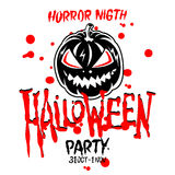Halloween Party Design template, with pumpkin and place for text. Stock Photos